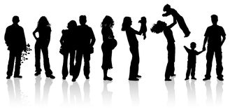 History of love in silhouettes Royalty Free Stock Image