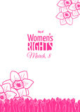 History, march 8 card. March 8 card or banner template. Historically, International Womens Day is the day of women`s rights and emancipation Royalty Free Stock Photos