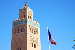 History  maroc africa  french waving  sky. In maroc africa      minaret  and the blue     sky Royalty Free Stock Photography