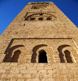 History in maroc africa  minaret religion and the blue     sky Stock Photo