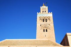 History in maroc africa  minaret religion   the blue     sky Royalty Free Stock Photo