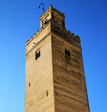 The history in maroc africa  minaret religion and  blue    sky Royalty Free Stock Photos