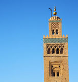 History in maroc africa  minaret religion and the blue     sky Stock Image