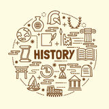 History minimal thin line icons set Stock Photography