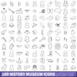 100 history museum icons set, outline style. 100 history museum icons set in outline style for any design vector illustration Stock Image