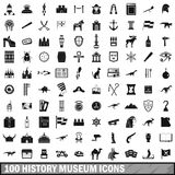 100 history museum icons set, simple style Royalty Free Stock Images