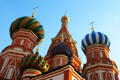 History Museum and Kremlin's domes at Red Suare in Moscow. royalty free stock image