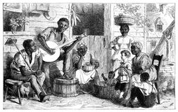 History and origins of jazz. Kiev, Ukraine - March 24, 2018: ILLUSTRATIVE EDITORIAL The reproduction of antique engraving that shows how jazz originated in Royalty Free Stock Photography