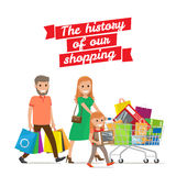 History of our Shopping. Family with Cart Set Stock Images