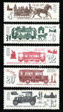 History of public transport Moscow. USSR - CIRCA 1981: Series History of public transport Moscow. Postage stamps of the USSR Royalty Free Stock Photo