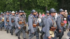 History reenactment in Moscow, Russia. Reconstruction of first World War, french soldiers army stock video