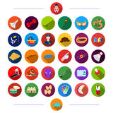 History, Restaurant, Hygiene and other web icon in flat style., Recreation, Sports, Tourism, icons in set collection. royalty free illustration