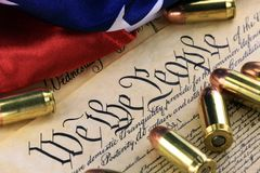 History of the Second Amendment - Bullets on Bill of Rights Royalty Free Stock Photography