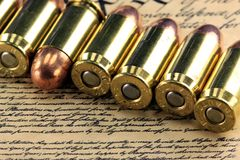History of the Second Amendment - Bullets on Bill of Rights Royalty Free Stock Photos