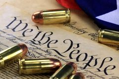 History of the Second Amendment - Bullets on Bill of Rights Royalty Free Stock Images
