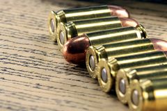 History of the Second Amendment - Bullets on Bill of Rights Stock Image