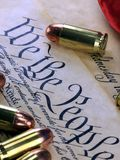History of the Second Amendment - Bullets on Bill of Rights Stock Photography