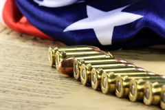 History of the Second Amendment - Bullets on Bill of Rights Stock Photo