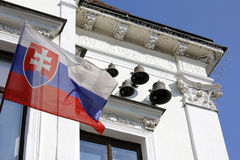 History in slovakia. Historic building with slovak flag royalty free stock photo