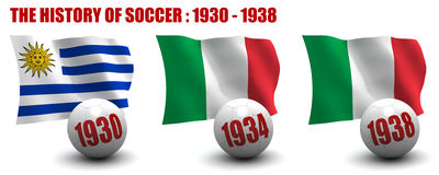 The History of Soccer 1930-1938 Royalty Free Stock Images