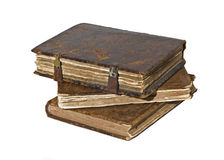 History - Three Old frayed books isolated Royalty Free Stock Photo