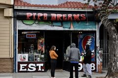It`s not just a pipe dream, the Heights oldest pipe shop head shop. stock photography