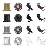 History, Vikings, weapons and other web icon in cartoon style. Sound, trumpet, call, icons in set collection. History, Vikings, weapons and other  icon in Royalty Free Stock Images