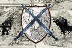History war. War background with shield and swords Stock Images