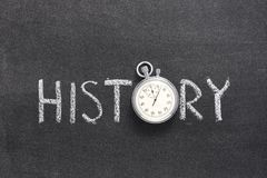 History word watch. History word handwritten on chalkboard with vintage precise stopwatch used instead of O Stock Photography