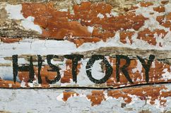 History written on old piece of wood Stock Photography