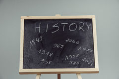 History, written with white chalk on a blackboard. Stock Photo