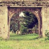 Historyczna brama Stvolinky kędziorek w regionu turystycznego Machuv kraju podczas wakacji letnich w polaroidu przestylizowaniu Obraz Royalty Free