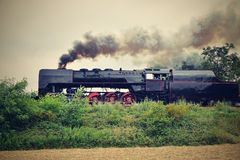 historyczna pary pociąg Szczególnie wszczynający Czeski stary kontrpara pociąg ono potyka się dla podróżować wokoło republika cze Obraz Stock
