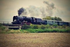 historyczna pary pociąg Szczególnie wszczynający Czeski stary kontrpara pociąg ono potyka się dla podróżować wokoło republika cze Zdjęcia Stock