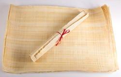 Historyczna stara papirusowa rolki pustego miejsca wiadomość Fotografia Stock