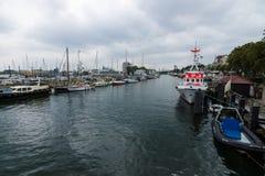 Historyczna ćwiartka Rostock, Warnemunde - Zdjęcia Royalty Free