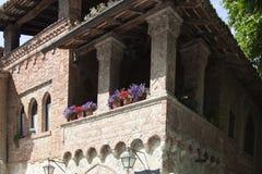 Historyczna wioska Grazzano Visconti Vigolzone Piacenza Włochy zdjęcie stock