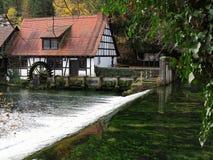 Historyczna woda zasilał młoteczkowego młyn przy krasową wiosną obrazy stock
