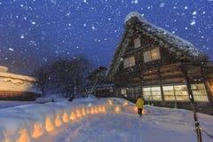 Historyczne wioski Iść w śnieżnym dniu Zdjęcia Royalty Free