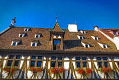 Historycznego stylu Hall Blés aux świron w Obernai, blisko Strasburg, Francja Zdjęcia Stock