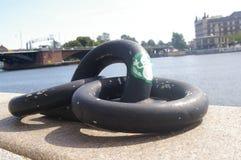 Historyczni łańcuchy na kanałach Kopenhaga, Dani Obrazy Stock