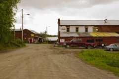 Historyczni budynki w Keno, Yukon, Kanada obrazy royalty free