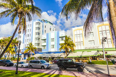 Historyczni budynki w Miami art deco okręgu Zdjęcie Stock