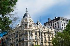 Historyczni budynki z koronkowymi przodami Madryt Obrazy Royalty Free