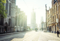 Historyczni domy w Ghent zdjęcia royalty free