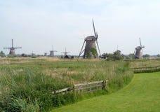 Historyczni Holenderscy wiatraczki przy Kinderdijk, holandie Zdjęcie Royalty Free