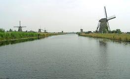 Historyczni Holenderscy wiatraczki przy Kinderdijk, UNESCO światowego dziedzictwa miejsce Fotografia Royalty Free