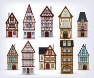 Historyczni ryglowi domy ilustracja wektor