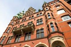 Historyczny budynek w Speicherstadt w Hamburg obraz stock
