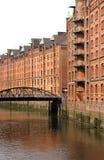 Historyczny budynek w Speicherstadt w Hamburg obrazy stock